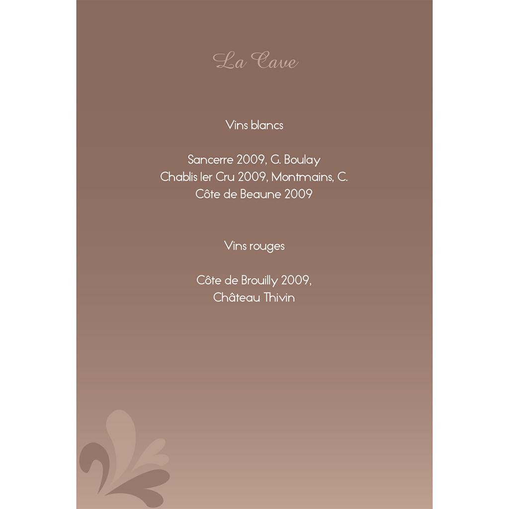 Menu mariage Paris sépia gratuit
