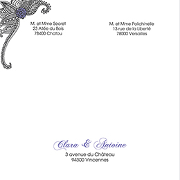 Faire-part de mariage Flora améthyste  gratuit
