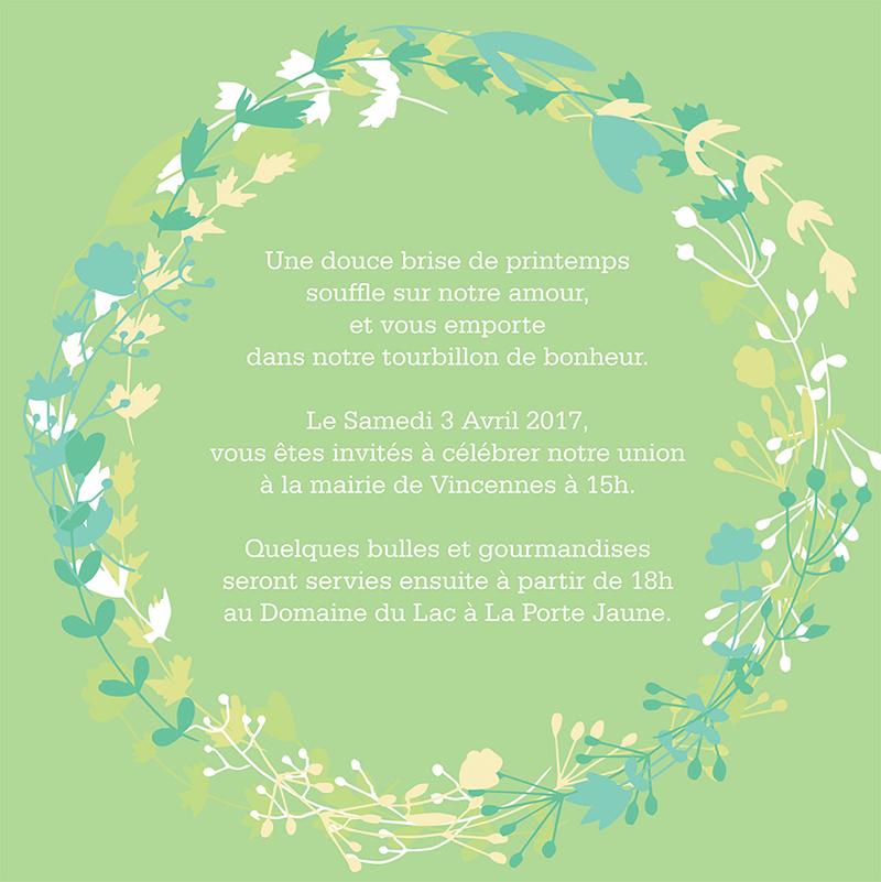 Faire-part de mariage Tourbillon de printemps