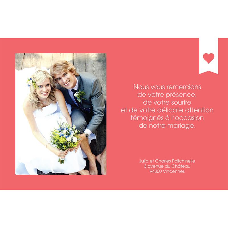 Carte de remerciement mariage Mille fois oui pêche gratuit
