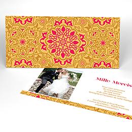 Carte de remerciement mariage Mauresque rose jaune