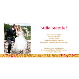Carte de remerciement mariage Mauresque rose jaune gratuit