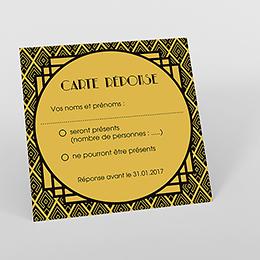 Carton réponse mariage Mariage années folles noir