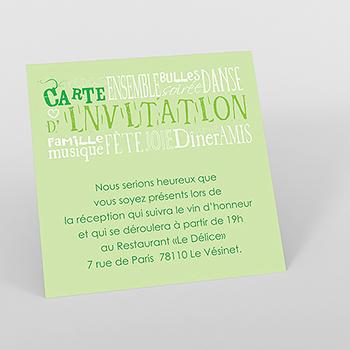 Carte d'invitation mariage Jeu de mots vert