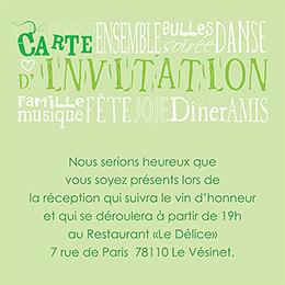 Carte d'invitation mariage Jeu de mots vert pas cher