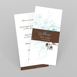 Menu mariage Nuptial rond chocolat turquoise