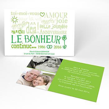 Carte anniversaire de mariage Jeu de mots vert