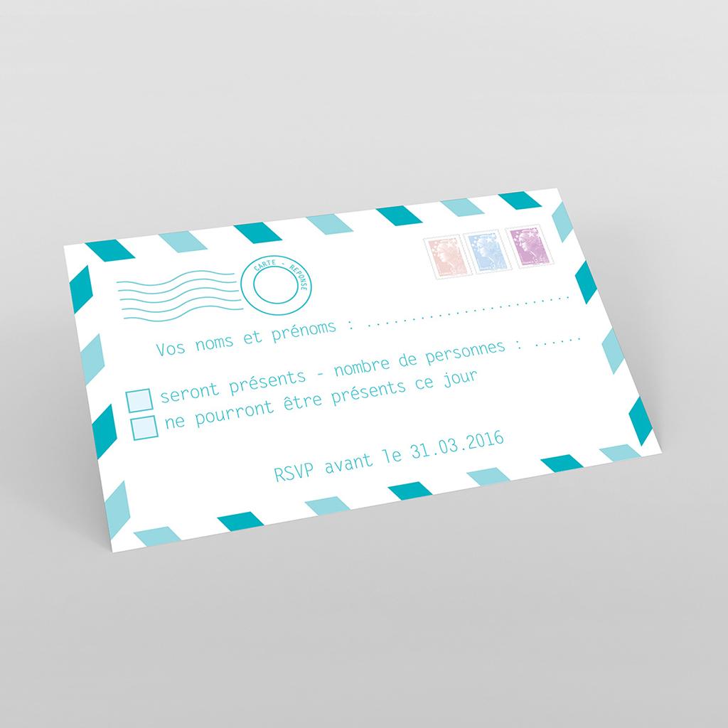 Carton réponse mariage Voyage bleu