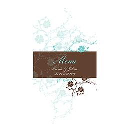 Menu mariage Nuptial rond chocolat turquoise pas cher