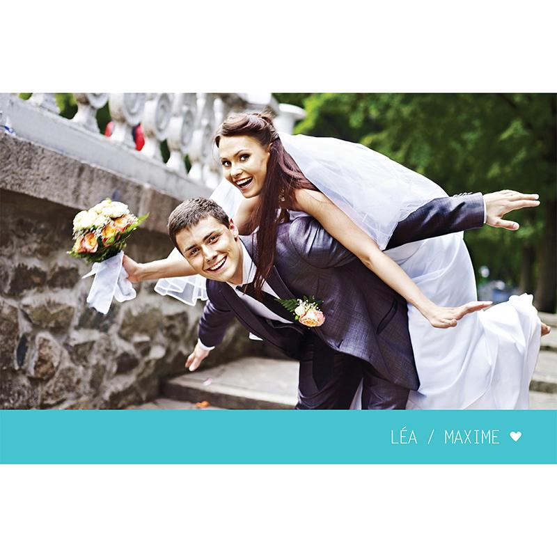 Carte de remerciement mariage Voyage bleu pas cher