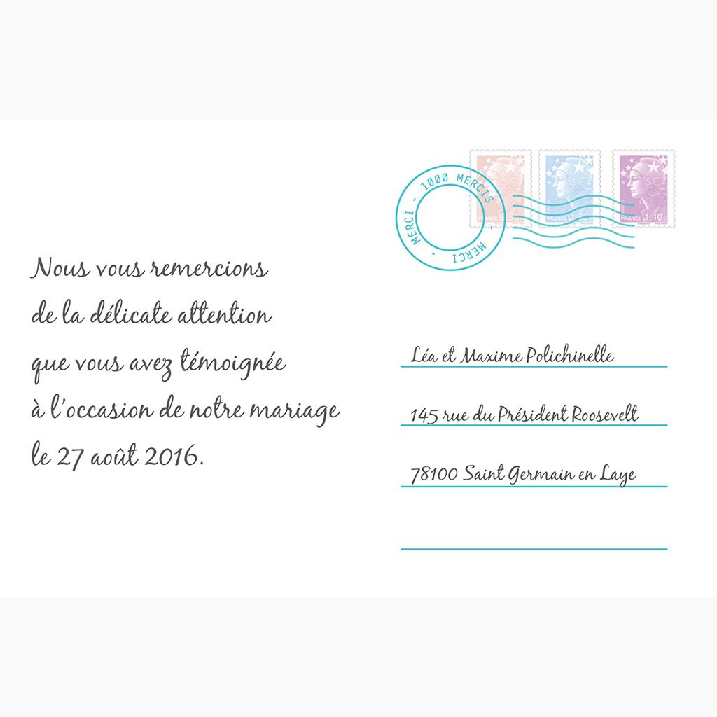 Carte de remerciement mariage Voyage bleu gratuit