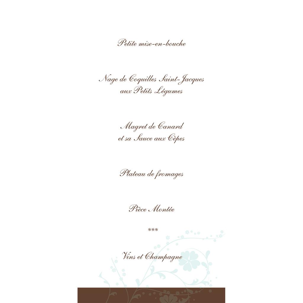 Menu mariage Nuptial rond chocolat turquoise gratuit
