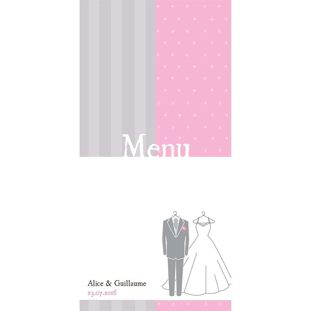 Menu mariage Costumes  pas cher