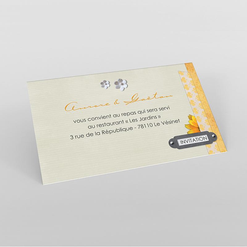 Carte d'invitation mariage Scrap'jaune