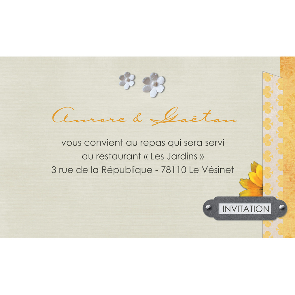 Carte d'invitation mariage Scrap'jaune  pas cher
