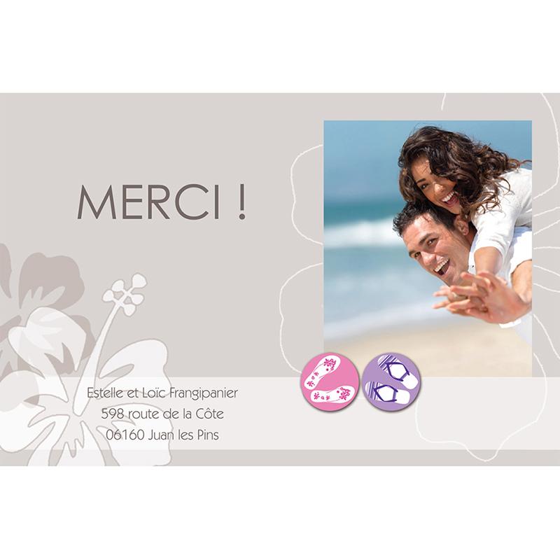 Carte de remerciement mariage Hibiscus  gratuit