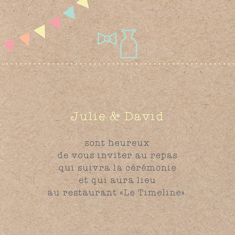 Carte d'invitation mariage Pretty love story rond pas cher