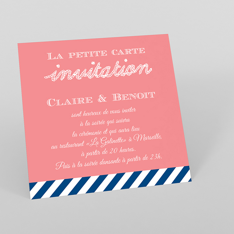 Carte d'invitation mariage Navy Corail