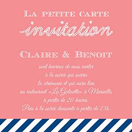Carte d'invitation mariage Navy Corail  pas cher
