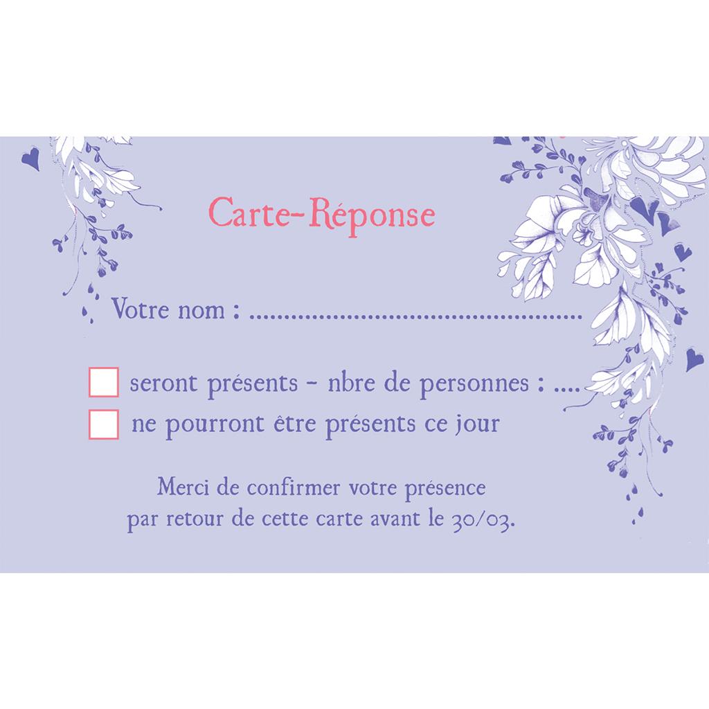 Carton réponse mariage Romance  pas cher