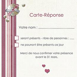Carton réponse mariage Scrap'rose  pas cher