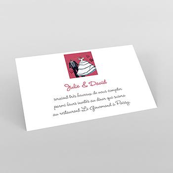 Carte d'invitation mariage Union rouge