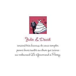 Carte d'invitation mariage Union rouge pas cher