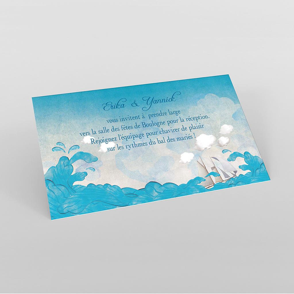 Carte d'invitation mariage Le Voilier