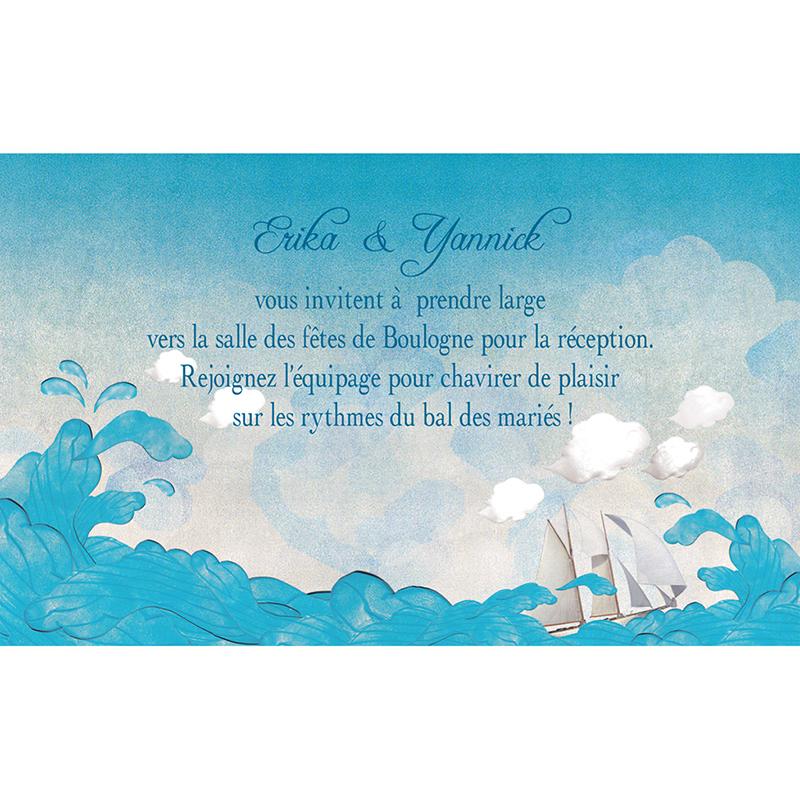 Carte d'invitation mariage Le Voilier  pas cher