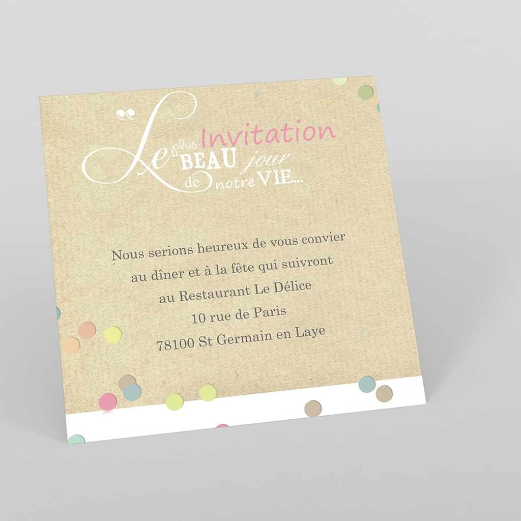 Carte d'invitation mariage Confettis