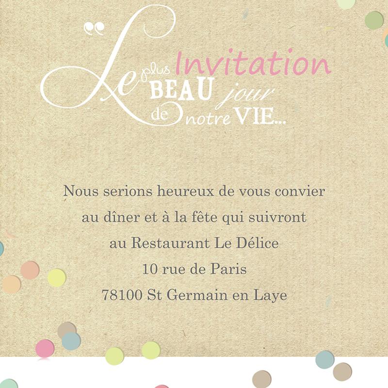 Carte d'invitation mariage Confettis  pas cher