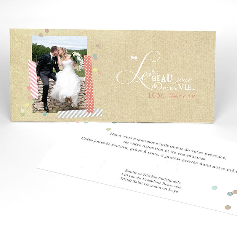 Carte de remerciement mariage Confettis