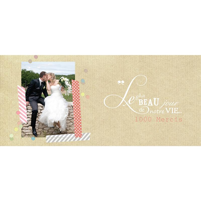 Carte de remerciement mariage Confettis  pas cher