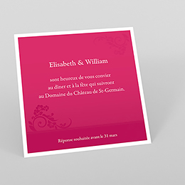 Carte d'invitation mariage Cérémonie rose
