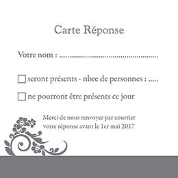 Carton réponse mariage Cérémonie gris pas cher