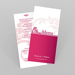 Menu mariage Cérémonie rose