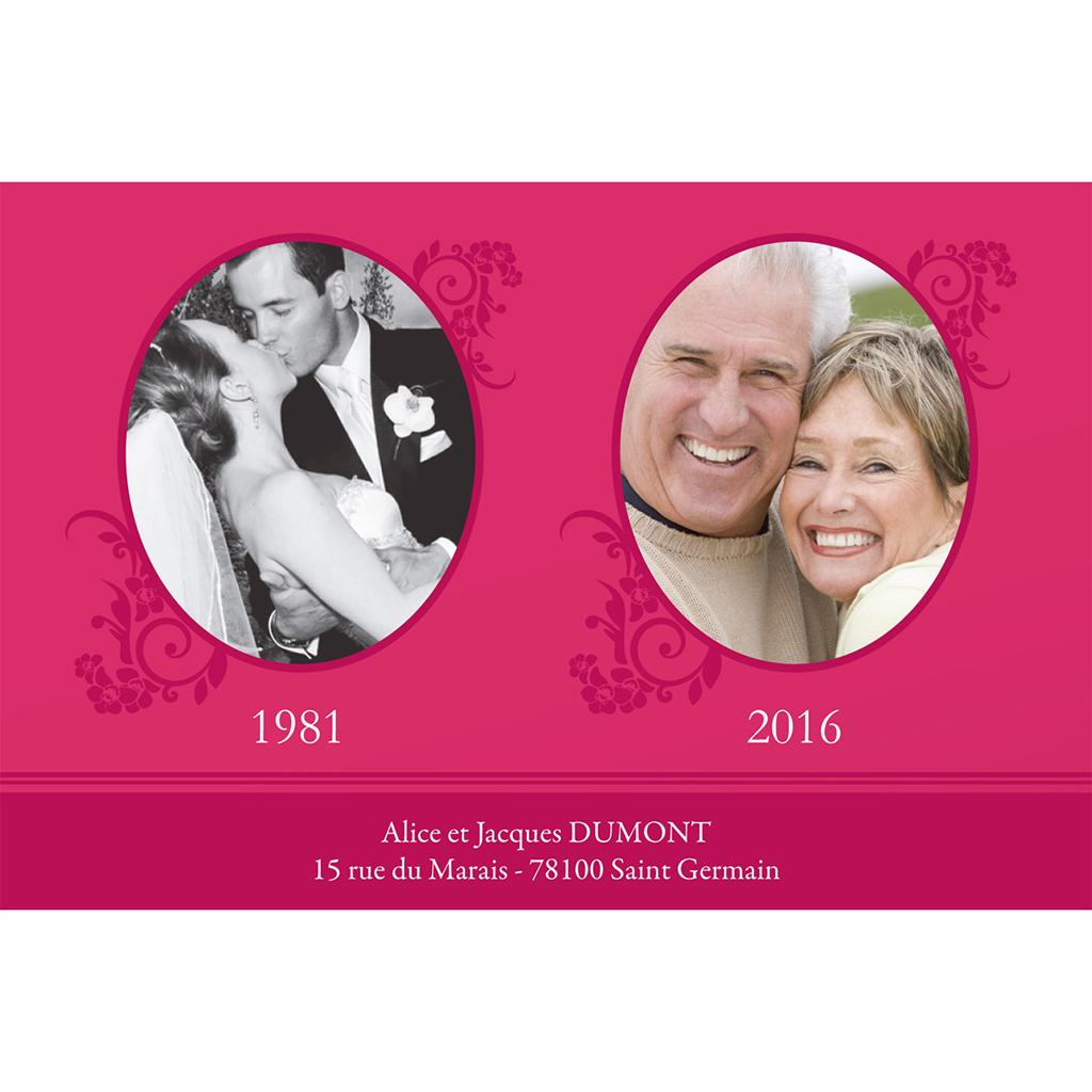 Carte anniversaire de mariage Cérémonie rose gratuit