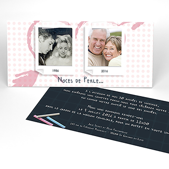 Carte anniversaire de mariage Mots d'enfant rose