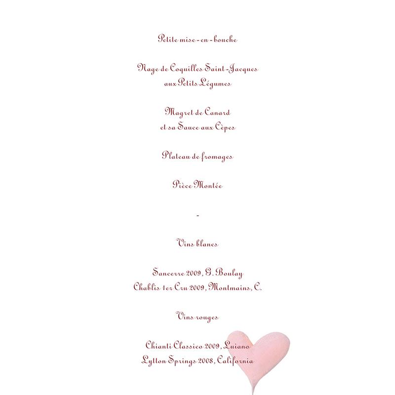 Menu mariage La balançoire  gratuit