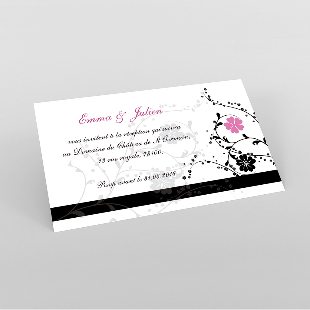 Carte d'invitation mariage Nuptial noir