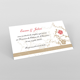 Carte d'invitation mariage Nuptial doré