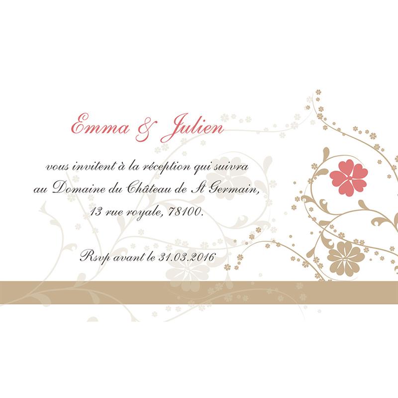 Carte d'invitation mariage Nuptial doré pas cher
