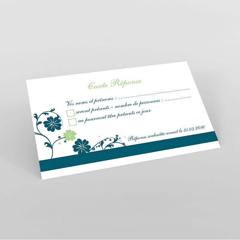 Carton réponse mariage Nuptial bleu