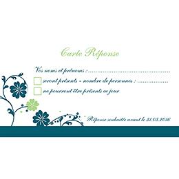 Carton réponse mariage Nuptial bleu pas cher