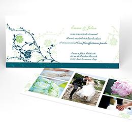 Carte de remerciement mariage Nuptial bleu