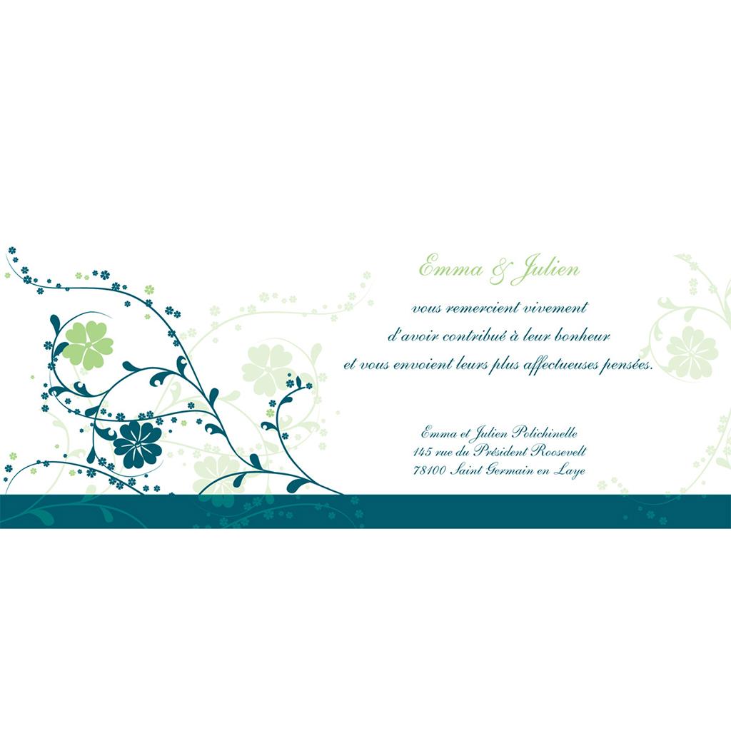 Carte de remerciement mariage Nuptial bleu pas cher