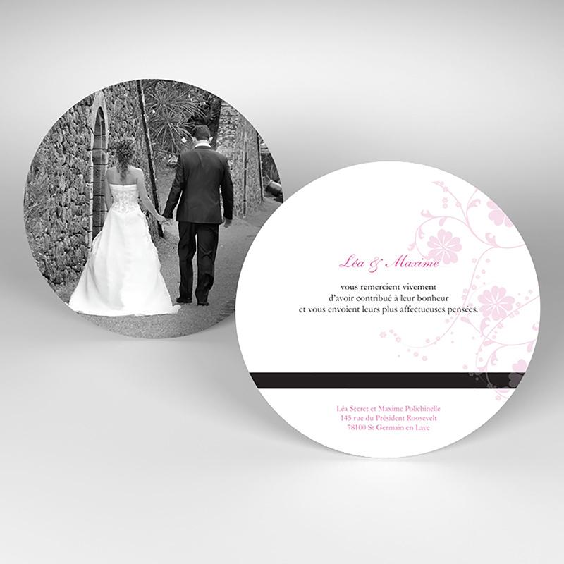 Carte de remerciement mariage Nuptial rond noir rose