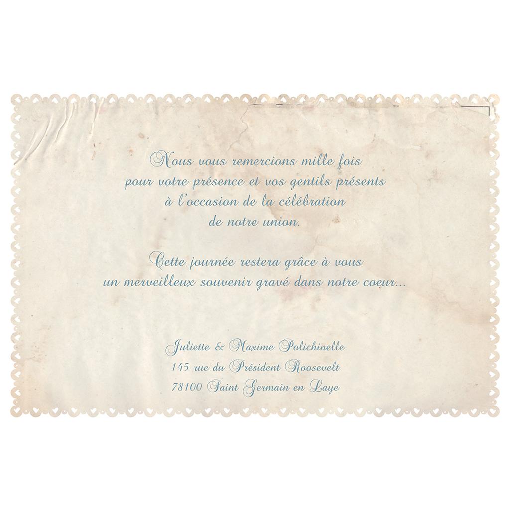 Carte de remerciement mariage Nostalgie  gratuit