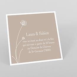 Carte d'invitation mariage Idylle beige