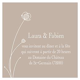 Carte d'invitation mariage Idylle beige pas cher